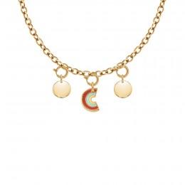 Collier Chaîne No.1 avec pendentif Rainbow et médaillon, plaqué or