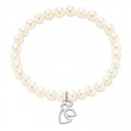 Bracelet en petites perles blanches avec un ange d'argent ajouré