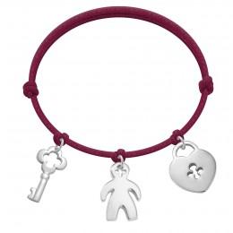 Bracelet avec clé, garçon et cadenas en argent sur un cordon épais de couleur prune