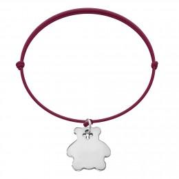 Bracelet avec ourson en argent sur un cordon fin de couleur prune
