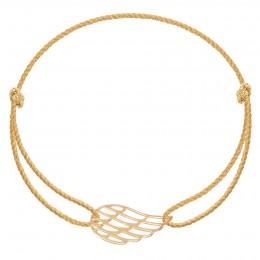 Bracelet avec une aile ajourée en or585 sur un cordon épais doré premium