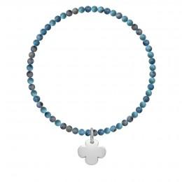 Bracelet Neptune mini en pierres naturelles avec un trèfle rond argent