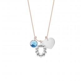Naszyjnik z niebieskim kwarcem, Lwem i sercem na cienkim łososiowym sznurku