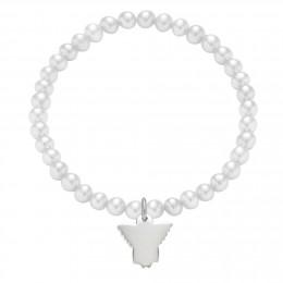 Bracelet en mini-perles blanches avec un ange d'argent