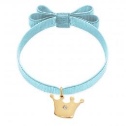 Bracelet ruban double nœud de couleur bleu clair avec une couronne Princess plaquée or