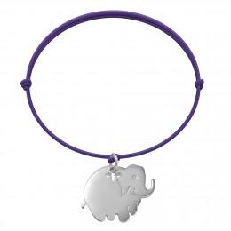 Bracelet avec éléphant en argent sur un cordon fin violet