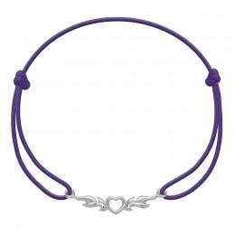 Bracelet avec cœur enflammé en argent sur un cordon fin violet