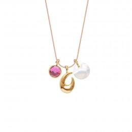 Naszyjnik z różowym kwarcem, Rakiem i medalikiem z masy perłowej na cienkim łososiowym sznurku