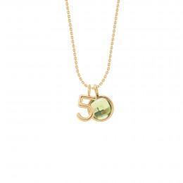 Collier «50» avec pendentif quartz vert sur chaîne fine classique