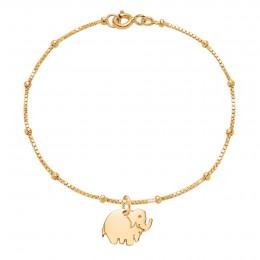 Bracelet avec éléphant plaqué or sur une chaîne vénitienne