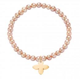 Bracelet en mini-perles roses avec un fleur de lis plaqué or