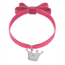 Bracelet ruban double nœud rose avec une couronne Princess en argent