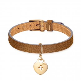 Bracelet en cuir bicolore avec un cadenas plaqué or