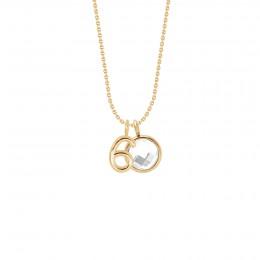Collier «60» avec pendentif quartz blanc sur chaîne fine classique