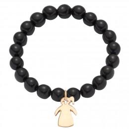 Bracelet en billes de cristal noires avec une fille à une queue de cheval plaquée o