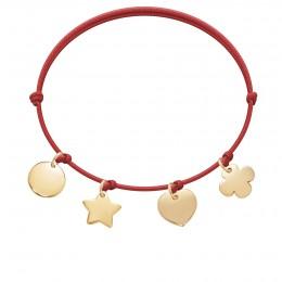Bracelet avec trèfle rond, cœur, étoile et médaillon plaqués or sur un cordon fin rouge