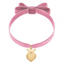 Bracelet ruban double nœud de couleur rose pâle avec une couronne King plaquée or