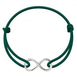Bracelet avec signe de l'infini en argent sur un cordon épais de couleur vert bouteille