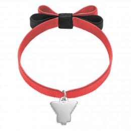 Bracelet avec un ange d'argent sur un ruban rouge noeud double