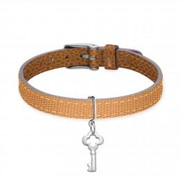 Bracelet en cuir bicolore avec une clé en argent