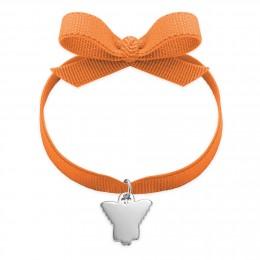 Bracelet ruban de couleur orange avec angelot en argent