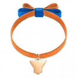 Bracelet ruban double nœud de couleur orange avec un angelot plaqué or