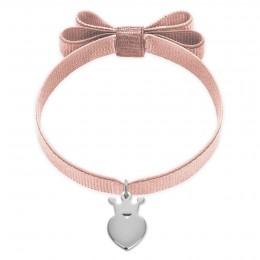 Bracelet ruban double nœud de couleur rose poudré avec une couronne King en argent