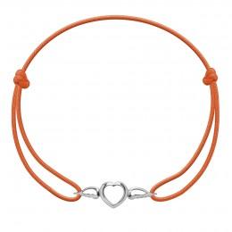 Bracelet avec cœur ailé en argent sur un cordon fin de couleur orange