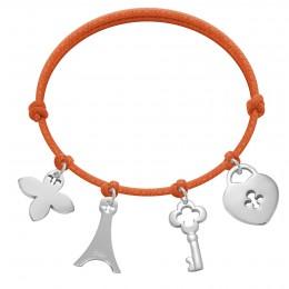 Bracelet avec clé, cadenas, Tour Eiffel et fleur de lys en argent sur un cordon épais de couleur orange