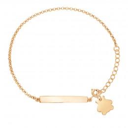 Bracelet avec plaque et ourson plaqué or