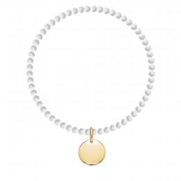 Bracelet Vénus mini en pierres naturelles avec un médaillon plaqué or