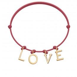 Bracelet LOVE, lettres plaqué or, sur cordon classique framboise