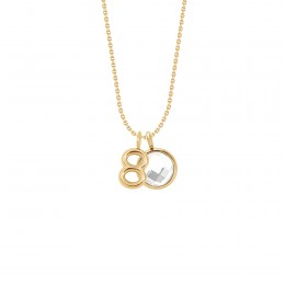 Collier «80» avec pendentif quartz blanc sur chaîne fine classique