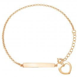 Bracelet avec une plaque et un cœur  ajouré en or585