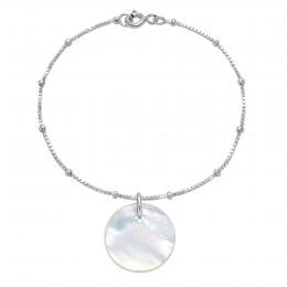 Bracelet avec un médaillon en nacre sur sur une chaîne vénitienne