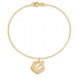 Bracelet avec une couronne Queen plaquée or sur une chaîne fine classique