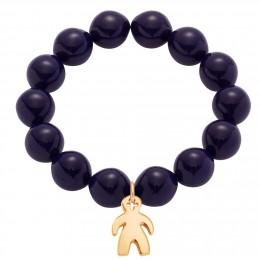 Bracelet en grandes billes de cristal bleu marin avec un garçon plaqué or