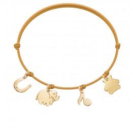 Bracelet avec fer à cheval, éléphant, note de musique et ourson plaqués or sur un coron fin de couleur ensoleillée