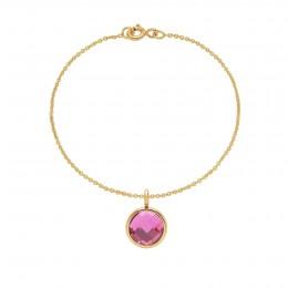 Bracelet avec pendentif quartz rose sur chaîne fine classique, plaqué or