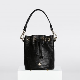 Sac Halley mini, crocodile noir