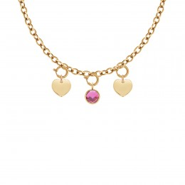 Collier Chaîne No.1 avec coeurs et quartz rose, plaqué or
