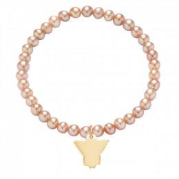 Bracelet de mini perles roses avec un ange doré