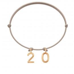 """Bracelet """"20"""" sur cordon beige"""