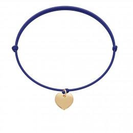 Bracelet avec cœur plaqué or sur un cordon fin bleu bleuet