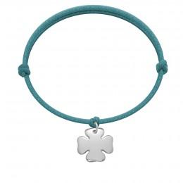 Bracelet avec trèfle en argent sur un cordon épais bleu turquoise