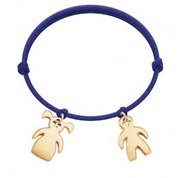 Bracelet avec fille et garçon plaqués or sur un cordon épais bleu bluet