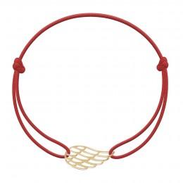 Bracelet avec aile plaquée or sur un cordon de couleur rouge