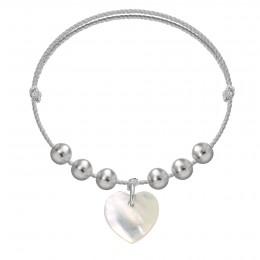 Bracelet Pearl Love sur un cordon en argent premium