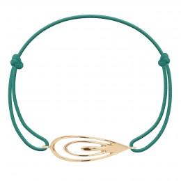 Bracelet avec un Paon plaqué or sur un cordon fin vert marin