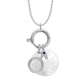 UN COLLIER-FERMOIR BIJOU, un pendentif Mars orné de saphir et un médaillon en nacre